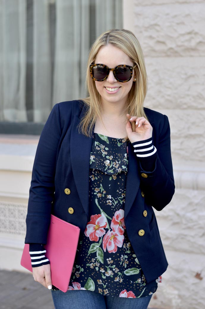 cabi floral cold shoulder blouse