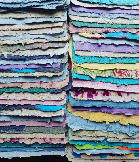 Colorful sheets of handmade paper