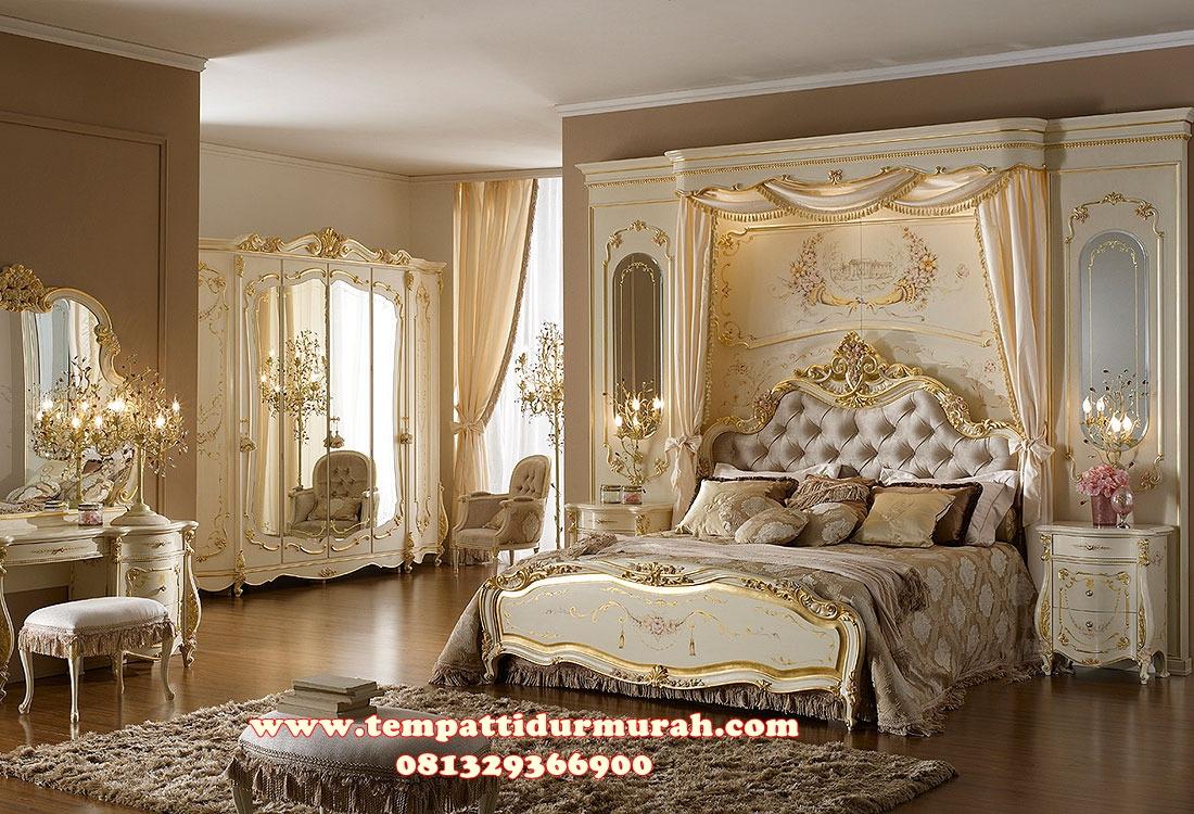 Set Kamar Tidur Ukir Pengantin Mewah Putih Emas