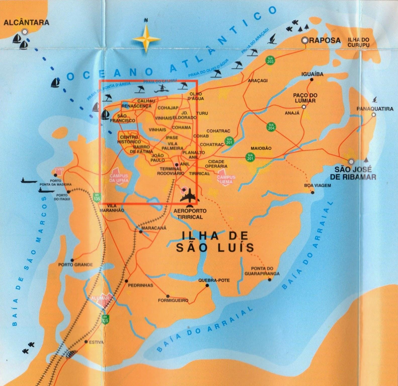 mapa de São Luís e região
