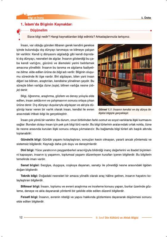 9. Sınıf Din Kültürü Ders Kitabı Cevapları Nev Yayınları Sayfa 12