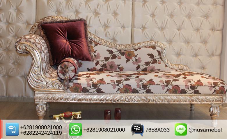 Chaise Lounge Sofa Cleopatra White Wash Finish
