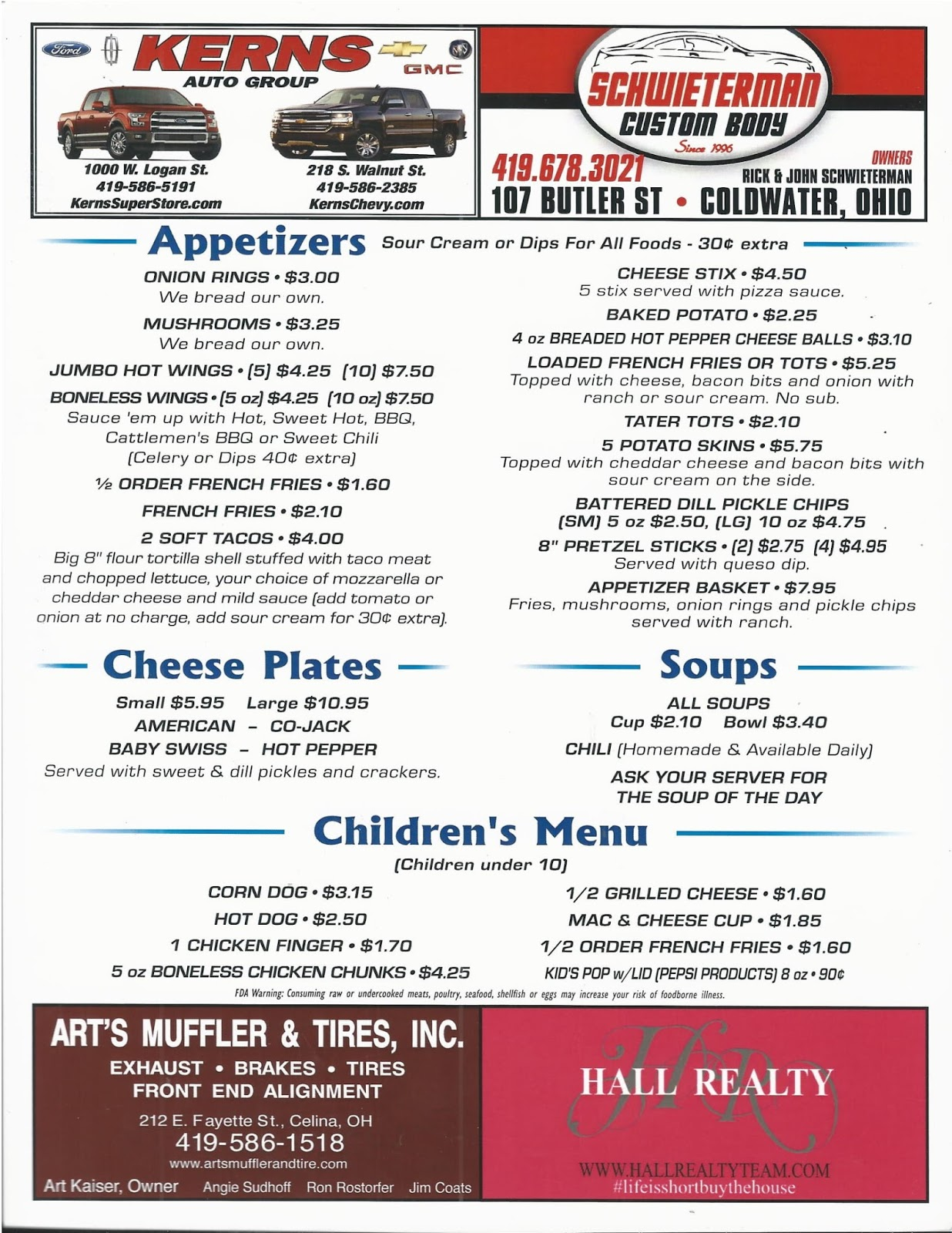MENU ~ Plaza Bowling Lanes Inc