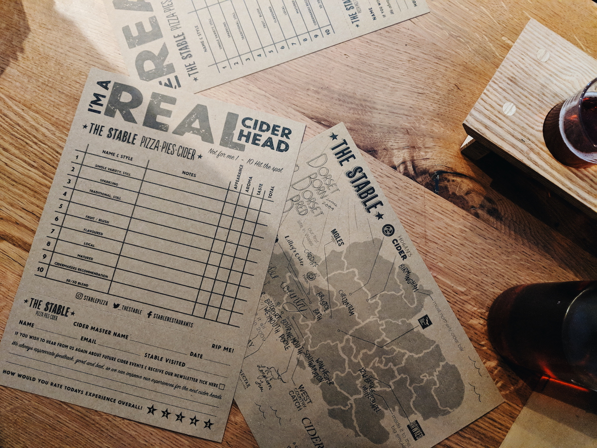 Our scorecards for The Stable's cider tasting experience