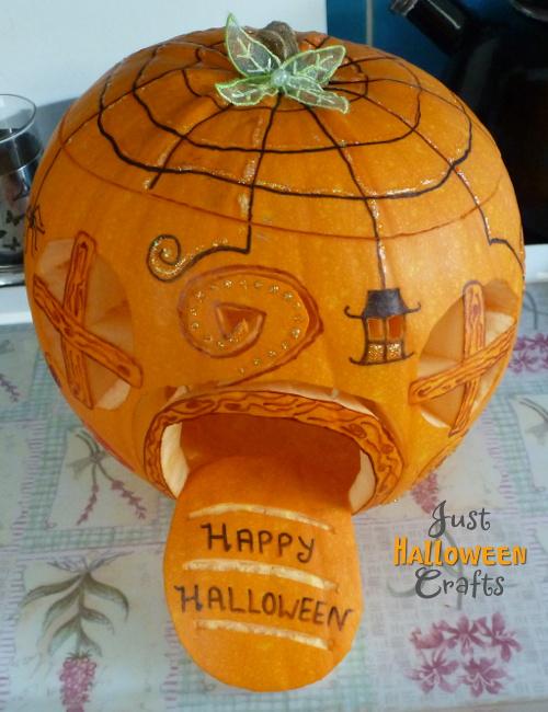 Halloween pumpkin decoration JustHalloweenCrafts Spiderweb roof, lantern, door, windows