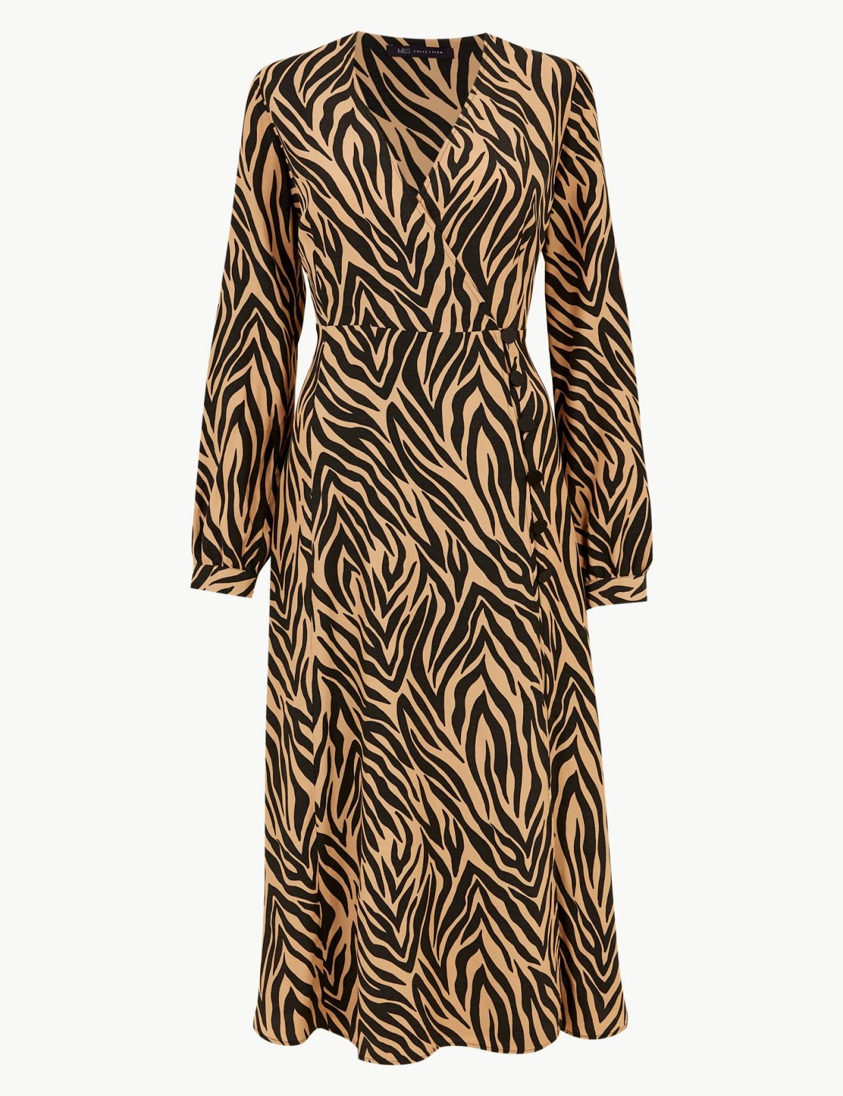 marks and spencer animal print long sleeve wrap midi dress