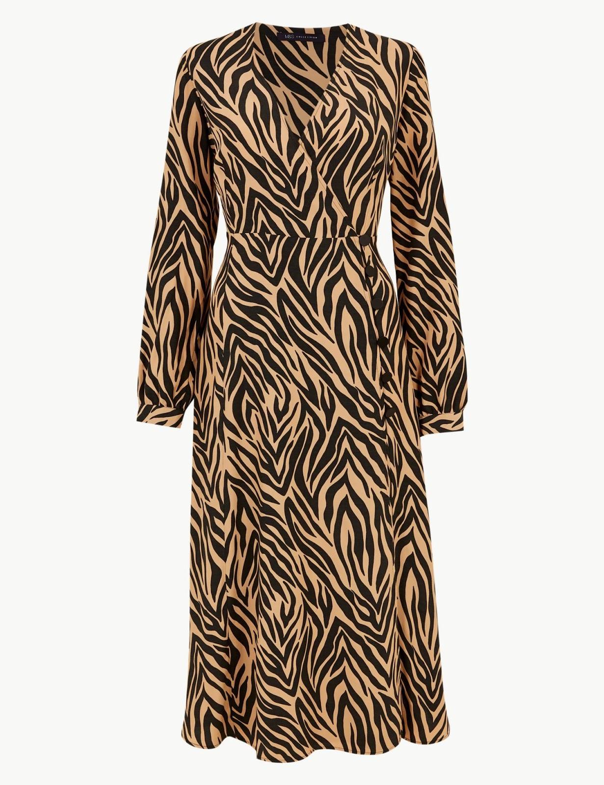 marks and spencer animal print long sleeve wrap midi dress