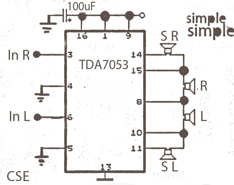 World Technical  Surround Circuit Tda7053 Amplifier