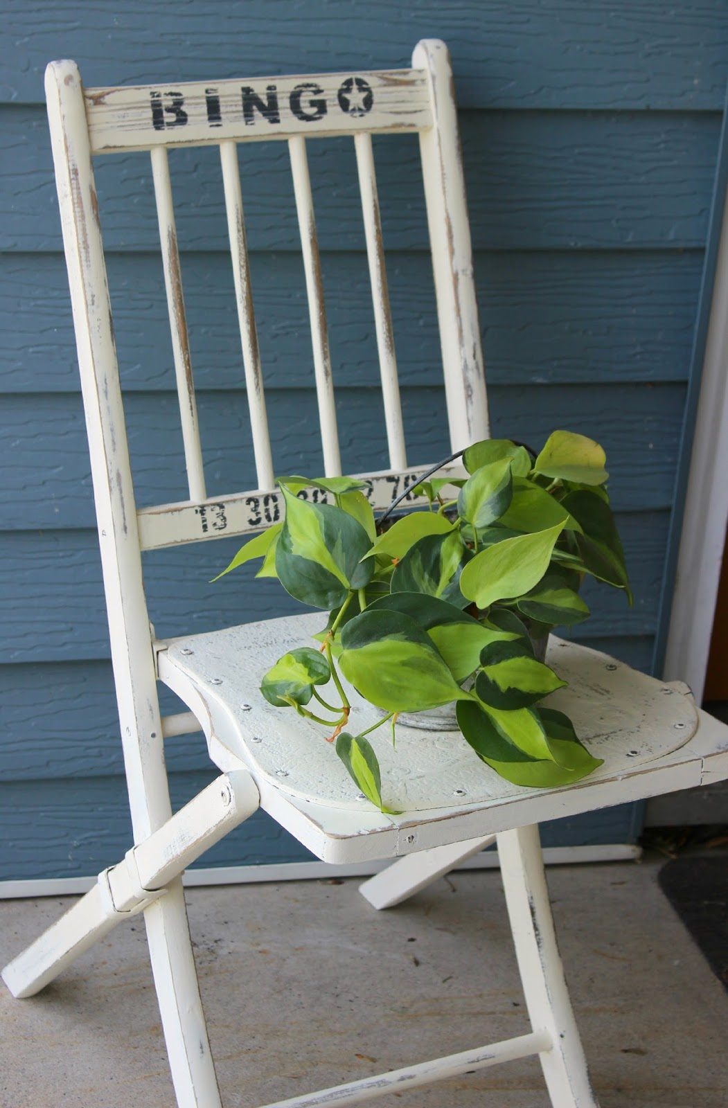 Folding Chair Upcycle Glides For Tile Floors A Vintage With Old Sign Stencils