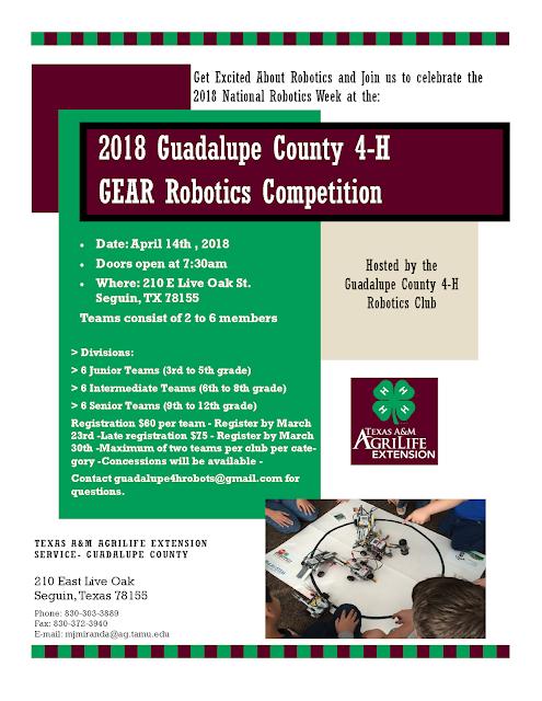 Travis County 4 H 2018 Guadalupe Co 4 H Gear Robotics