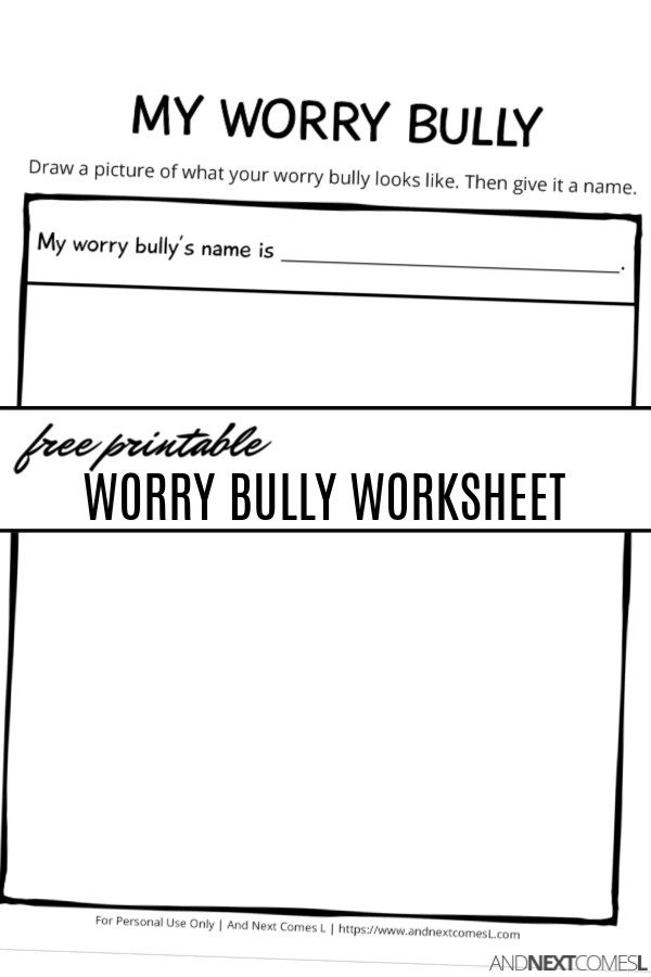 photograph about Free Printable Coping Skills Worksheets for Adults named Totally free Printable Get worried Bully Worksheet And Up coming Will come L
