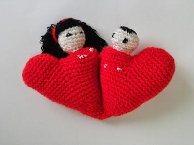 12 mas12 igual 24 Corazones San Valentin Crochet