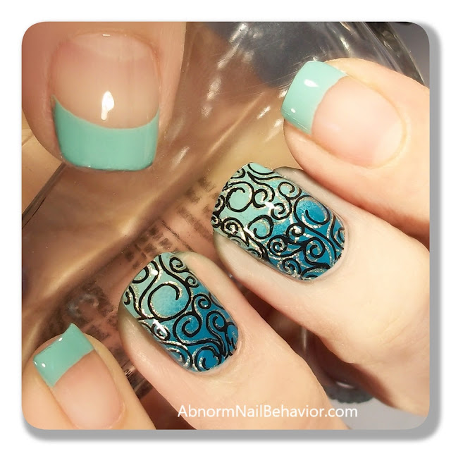 nail stamping black gold teal