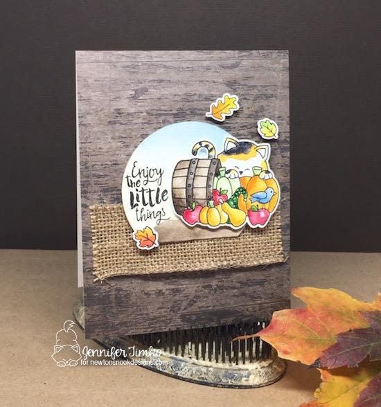 Enjoy the Little Things Fall Kitty Card by Jennifer Timko | Autumn Newton & Happy Little Thoughts Stamp Set by Newton's Nook Designs #newtonsnook #handmade