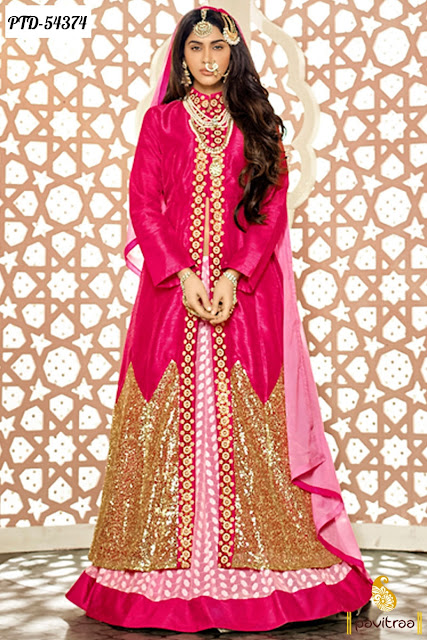 New Year 2016 Wedding season pink color net heavy work anarkali salwar suit online shopping with great discount offer sale