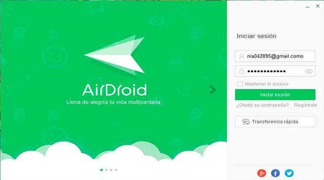 Inicia sesión con la cuenta con la que te has registrado en la aplicación AirDroid