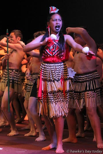 Sapphire Hoani, Maraenui Senior Whanau, Maraenui Bi-lingual School, Maraenui, Napier - Ngati Kahungunu Primary Schools' Kapa Haka Festival at Bay City Outreach Centre, Hastings. photograph