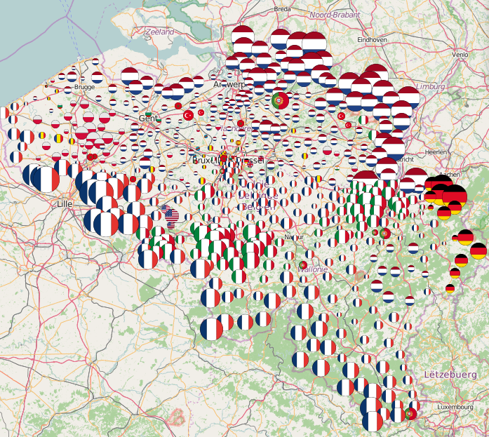 Map of most common foreign nationalities in Belgian municipalities