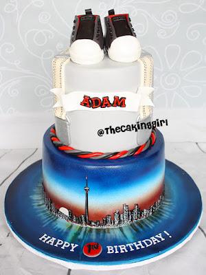 Toronto Skyline airbrush birthday cake fondant