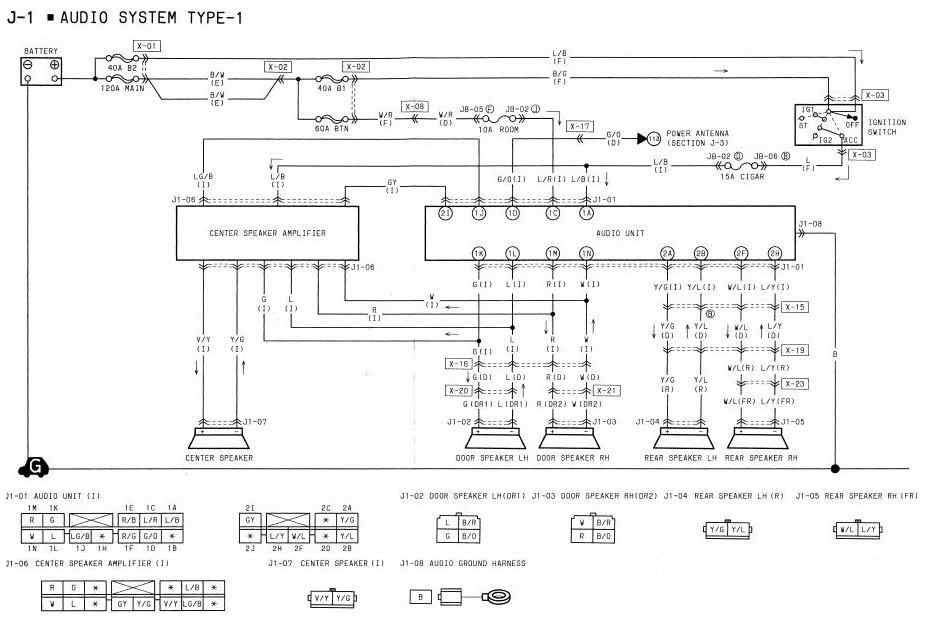 1994 Mazda RX7 Audio System Type 1 Wiring Diagram   All about Wiring Diagrams