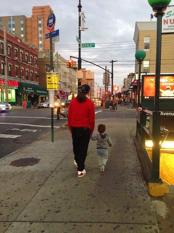 Father and son in Bushwick NYC