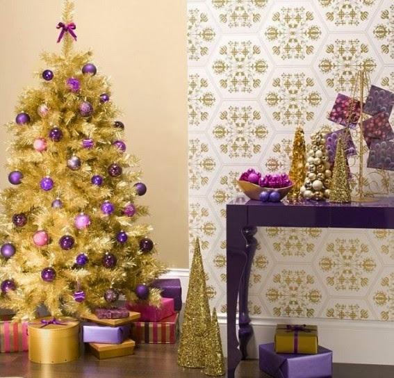 Fotos ideas para decorar casas - Arbol de navidad dorado ...