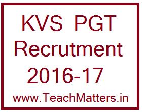 image : KVS PGT Recruitment 2016-17 @ TeachMatters