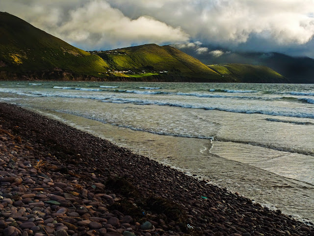 Light shining through the clouds on the Curra Hill at Rossbeigh Beach, Co.Kerry.