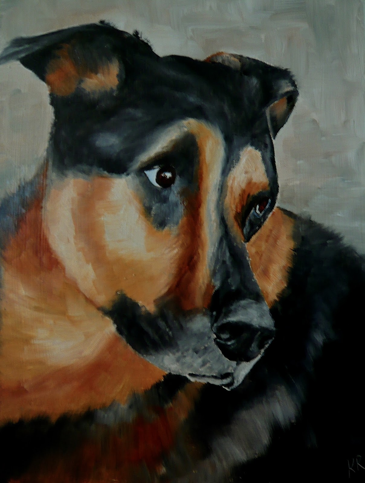 Oil painting of a black and tan dog, pet portrait, pet portrait by karen