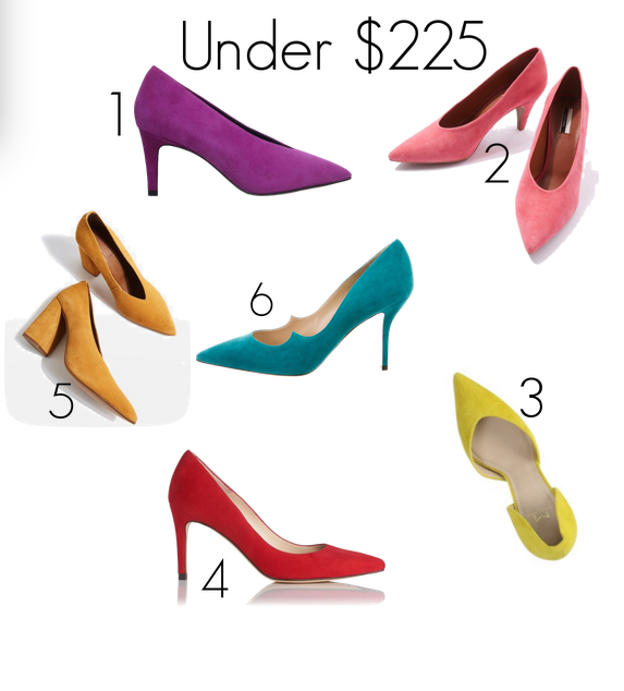 stilettos and pumps in suede and spring color
