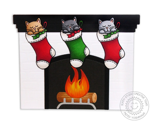Sunny Studio Stamps: Shaped Fireplace Card (using Santa's Helpers Kitty Cat Stamps)