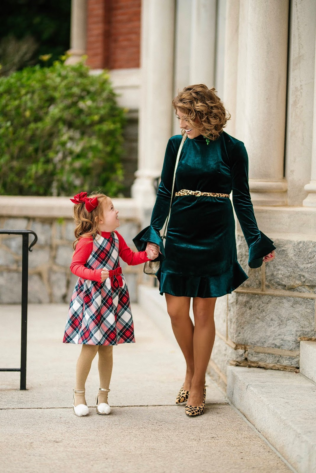 Mommy & Me Festive Looks: Plaid & Green Velvet - Something Delightful Blog