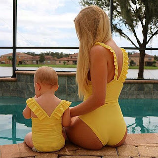 Mom Girl Ruffle Trim Solid Color Backless One Piece Matching Swimwear