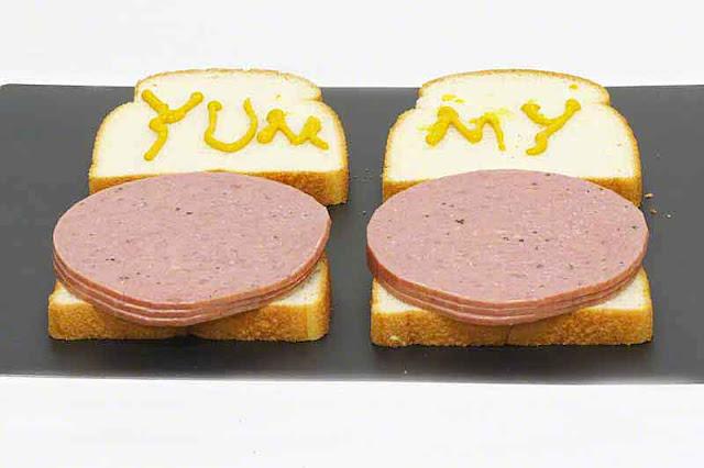 bread, salami, mustard