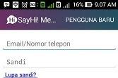 #Cara Daftar SayHi / Buat Akun SayHi Chat Di Android