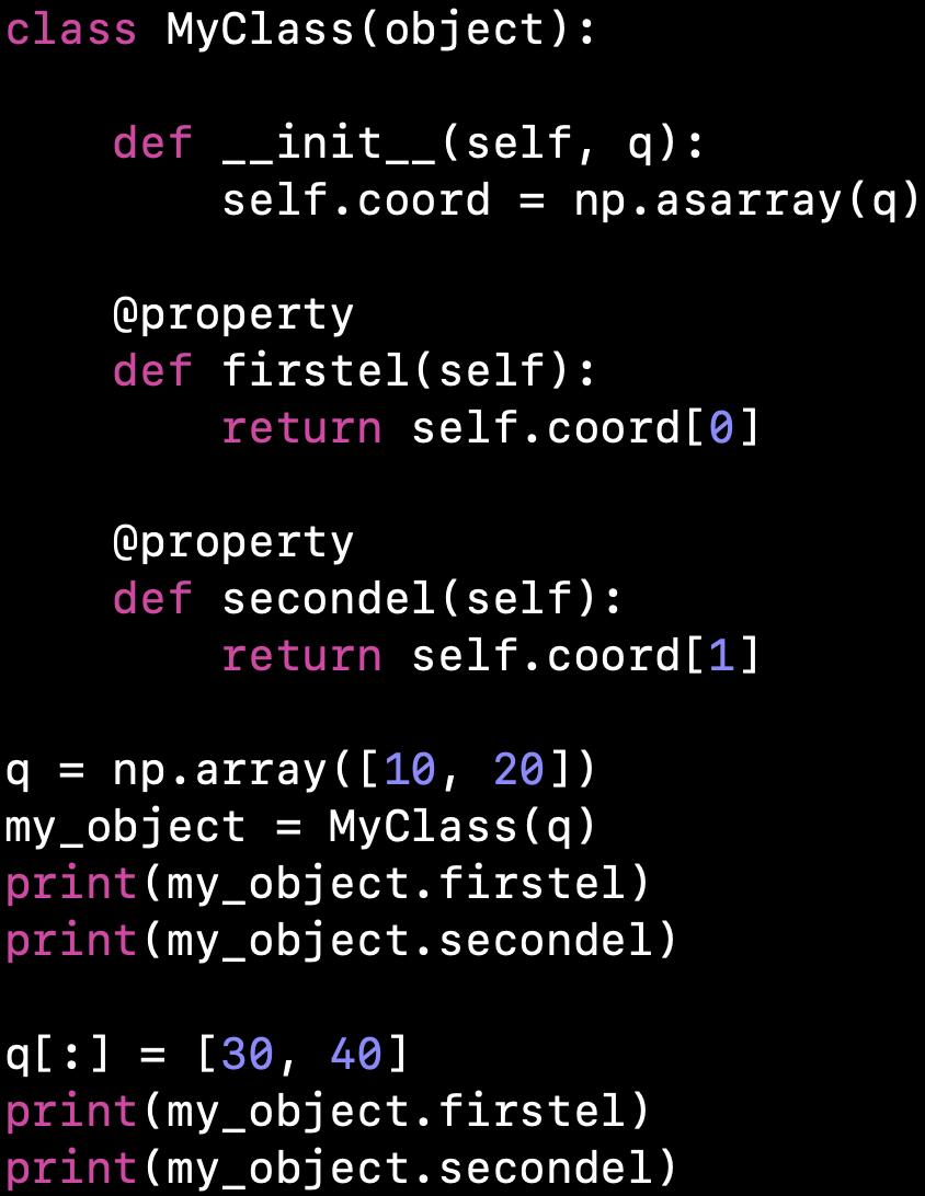 Chiustin: Numpy array assignment inside class