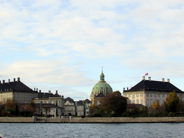 View of Marble Church and Amalienborg Palace from Copenhagen Canal Tour