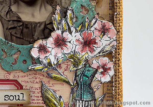 Layers of ink - Layered Vintage Burlap Canvas by Anna-Karin with Tim Holtz Illustrated Garden