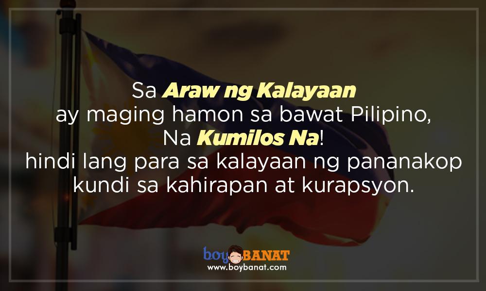 Tagalog Independence Day Quotes ~ Boy Banat