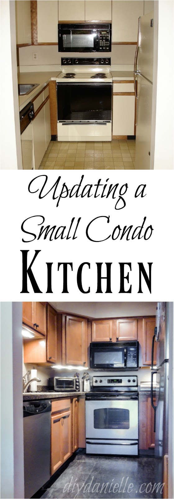 Renovated small kitchen with flooring, lighting, cabinets, appliances, and counters.