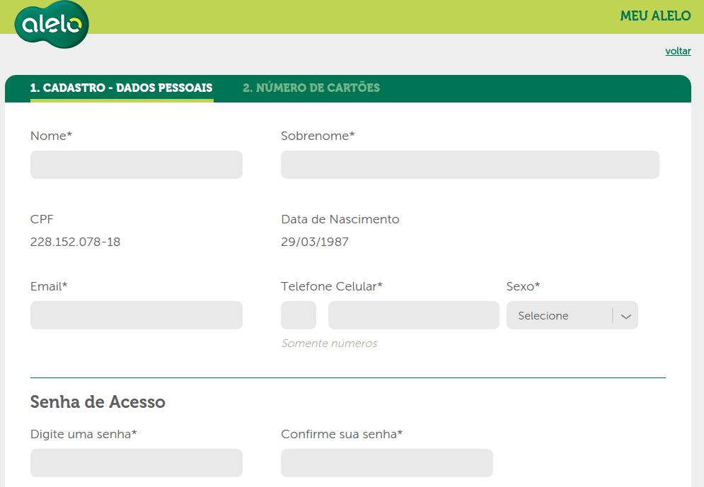 Cadastro para consulta de saldo do Visa Vale ou alelo.