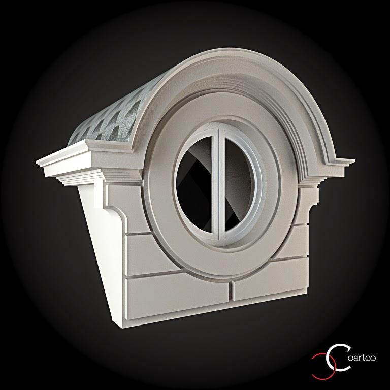 Ornameate Geamuri Rotunde Exterior, fatade case cu profile decorative polistiren, profile fatada,  Model Cod: WIN-087