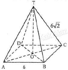 Gambar limas beraturan T.ABCD dengan rusuk alas 6 cm dan rusuk tegak 6√2 cm, soal UN 2017 Matematika SMA-IPS no. 29