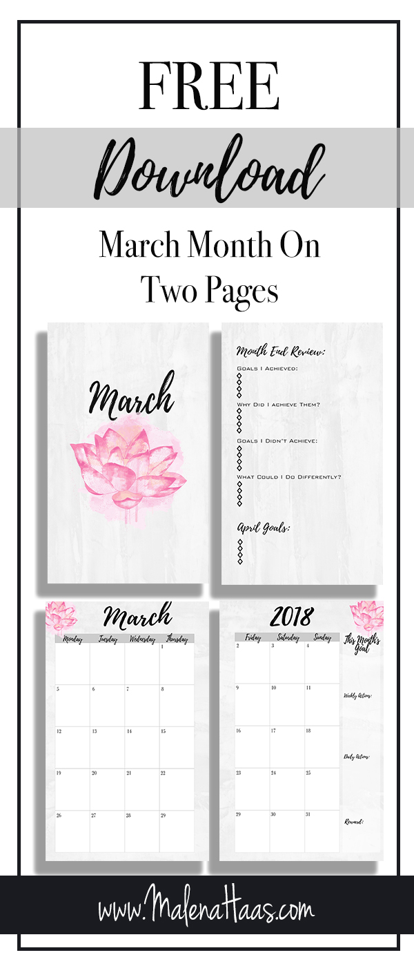 Free Month On Two Pages Planner Insert for 2018 http://www.malenahaas.com/2018/03/freebie-friday-march-month-on-two-pages.html