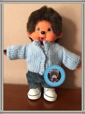 gilet en laine fait main pour Kiki ou Monchhichi - tricot - vêtement - handmade