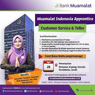 Lowongan Kerja Bank Muamalat Minimal SMK Sederajat (Deadline : 20 Agustus 2017)