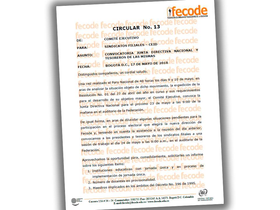Convocatoria Junta Directiva Nacional y Tesoreros de Sindicatos Filiales