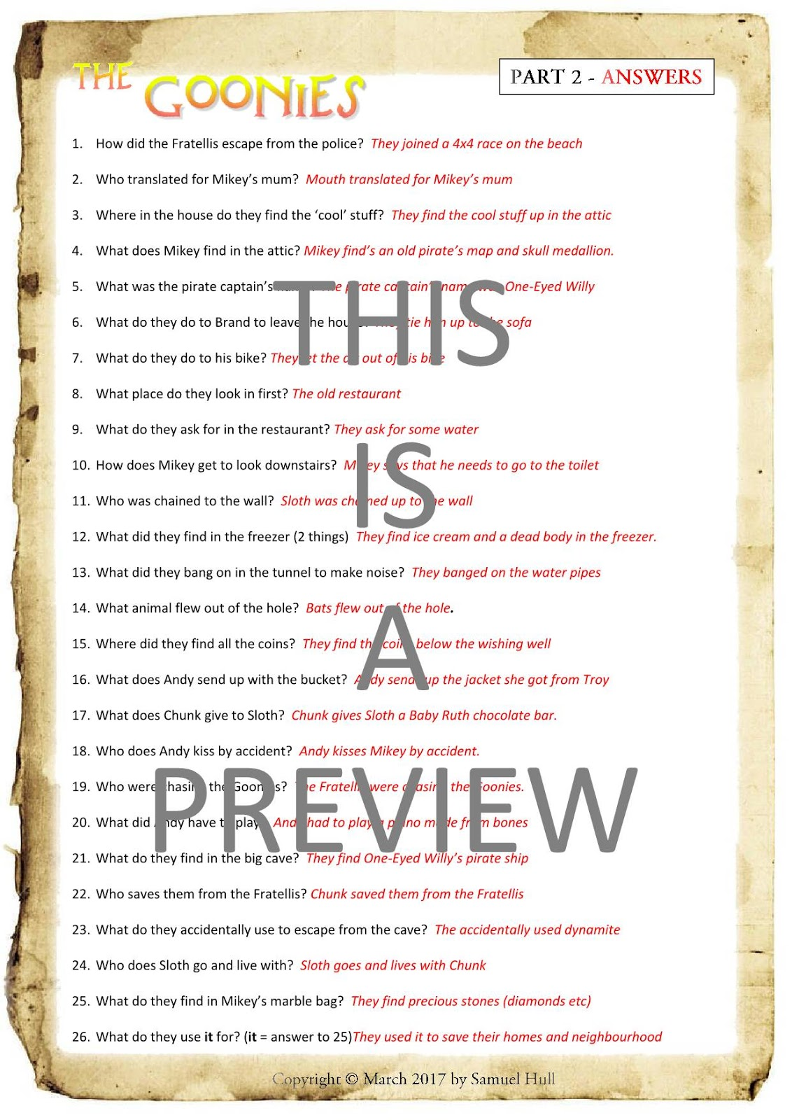 worksheet Troy Movie Worksheet the goonies 1985 movie questions activities answer key httpswww teacherspayteachers comproductthe guide extras included 3038884