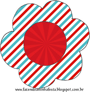 Light Blue, Red and White Stripes Toppers or Free Printable Candy Bar Labels.