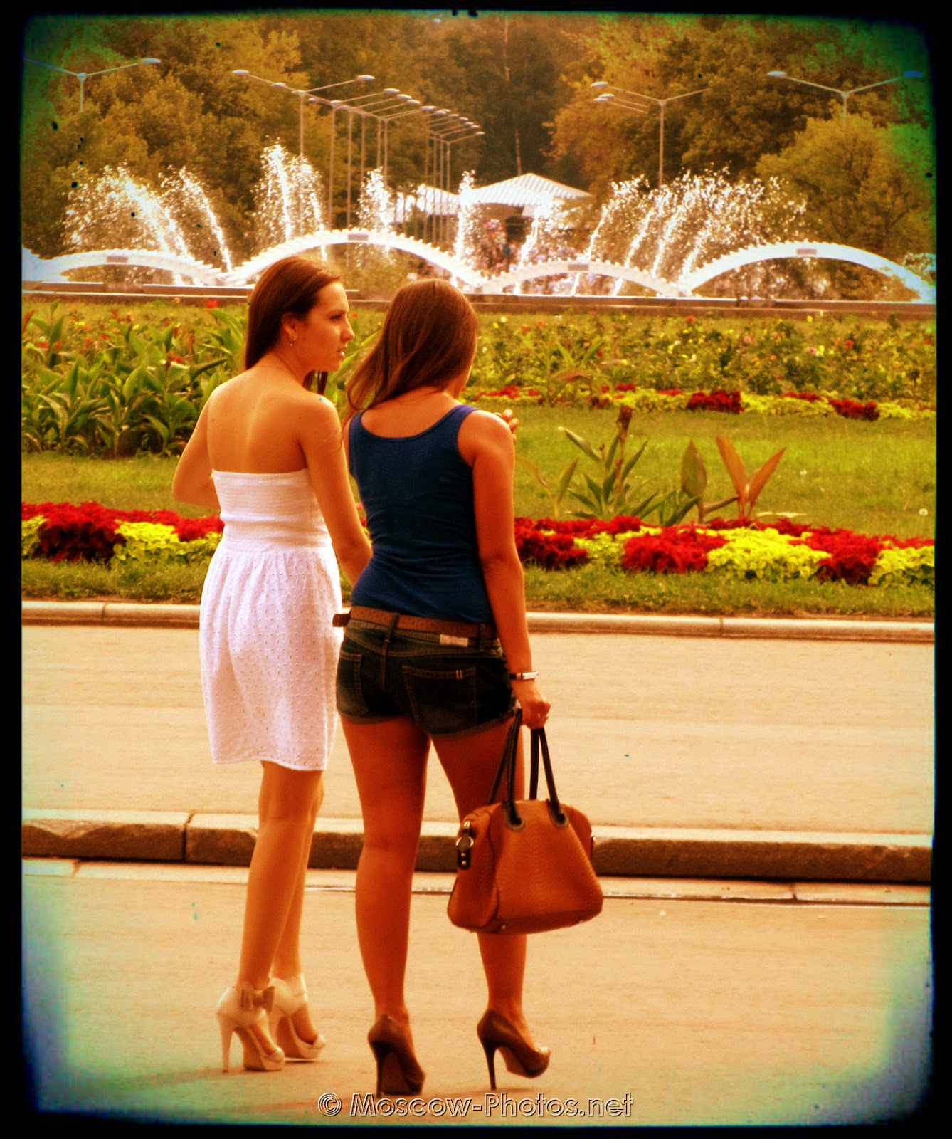 Moscow beautiful girls in a beautiful place